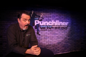 Standup Comedian Kelly Terranova in the Punchliner Comedy Club aboard the Carnival Dream.